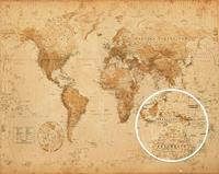GBeye Worl Map Antique Style Poster 50x40cm
