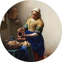 Wizard+Genius Vermeer The Milkmaid Vlies Fotobehang 140x140cm rond