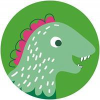 Komar Little Dino Tyranno Zelfklevend Fotobehang 125x125cm rond