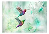 Artgeist Colourful Hummingbirds Green Vlies Fotobehang 100x70cm