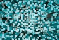Wizard+Genius 3D Squares Blue Vlies Fotobehang 384x260cm 8-banen