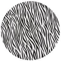 Bellatio Decorations 1x Ronde kaarsenborden/onderborden zebraprint 33 cm -