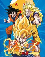 GBeye Dragon Ball Z 3 Gokus Poster 40x50cm