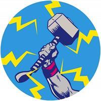 Komar Avengers Thors Hammer Pop Art Zelfklevend Fotobehang 125x125cm rond