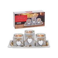 Merkloos Houten kaarsen plateau grijs met hartjes hangers 28 x 13 x 10 cm -