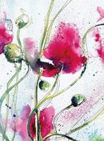 Wizard+Genius Poppies Watercolour Vlies Fotobehang 192x260cm 4-banen