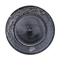 Bellatio Decorations 1x Ronde kaarsenborden/onderborden grijs antique glimmend 33 cm -