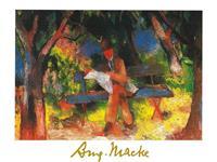 PGM August Macke - Lesender Mann Kunstdruk 80x60cm