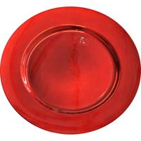 Bellatio Decorations Kaarsenbord/plateau rood glimmend 33 cm rond -