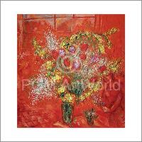 PGM Marc Chagall - Fleurs sur fond rouge Kunstdruk 70x70cm