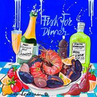 PGM El van Leersum - Fish for dinner Kunstdruk 40x40cm