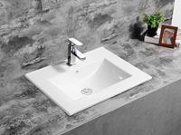 Fontana Latina keramische wastafel 60cm met kraangat wit glans