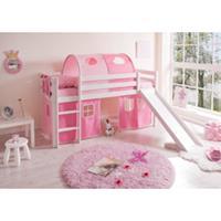 TICAA Halfhoogslaper MANUEL met glijbaan, massief hout grenen, wit, classic - roze pink - zonder tunnel