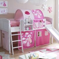 TICAA Halfhoogslaper EKKI met glijbaan, massief hout grenen, wit country - Horse roze pink - zonder tunnel